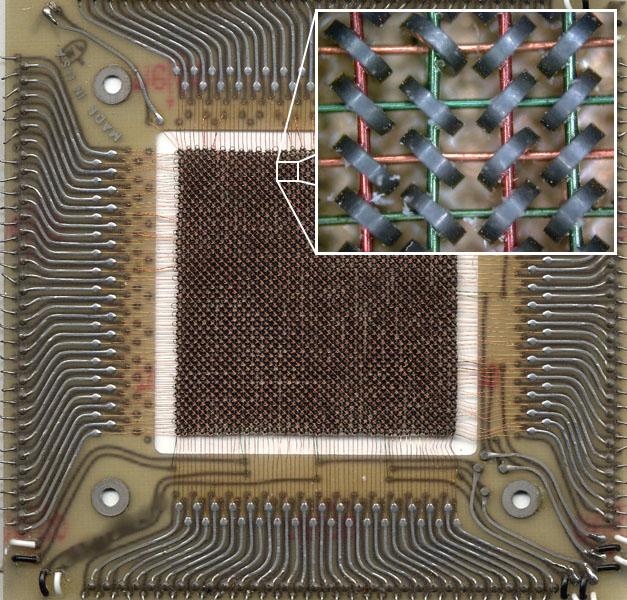 Память на магнитных сердечниках: матрица из ферритовых колец – носителей информации