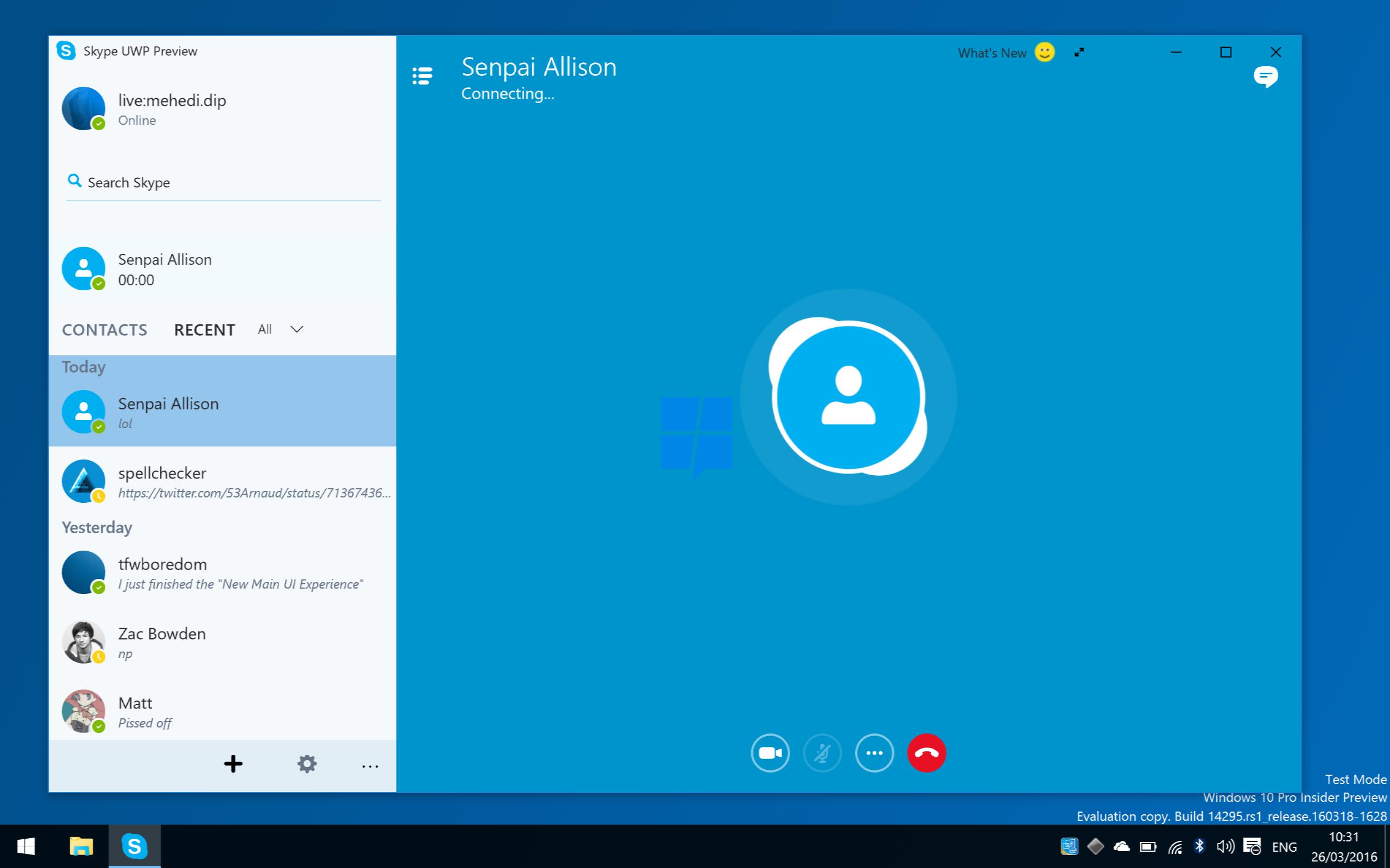 Галерея: скриншоты нового Skype UWP для мобильной и десктопной Windows 10