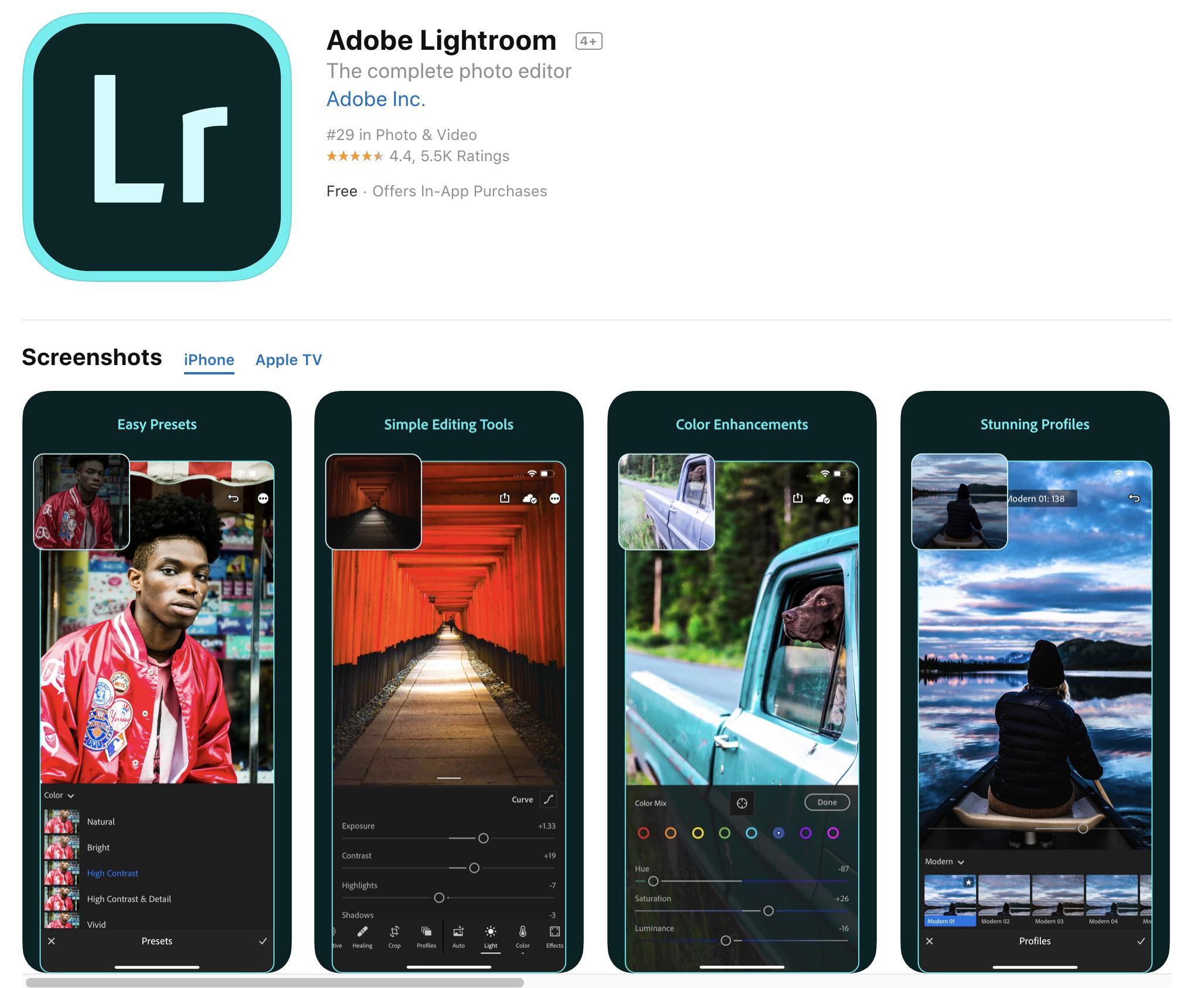 Adobe Lightroom Mobile App