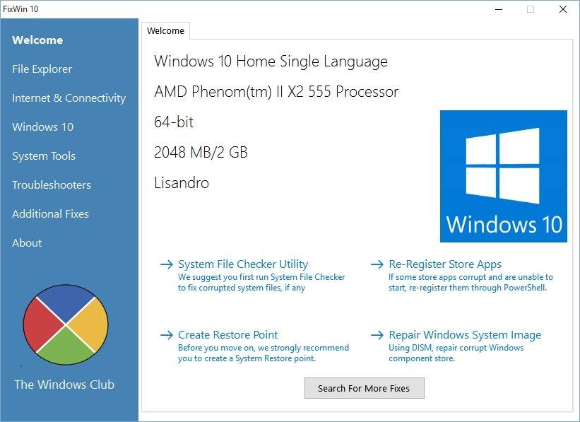 Исправление неполадок Windows 10 с помощью программы FixWin 10