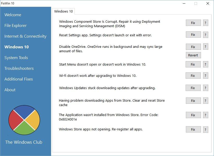 FixWin 10 вкладка Windows 10