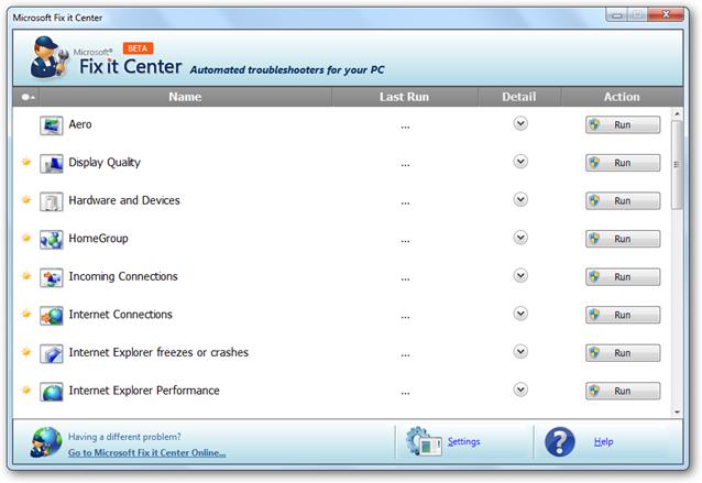 Fix it Center в Windows 7