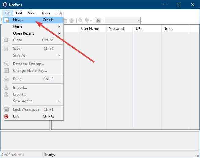 KeePass - создать новую базу данных