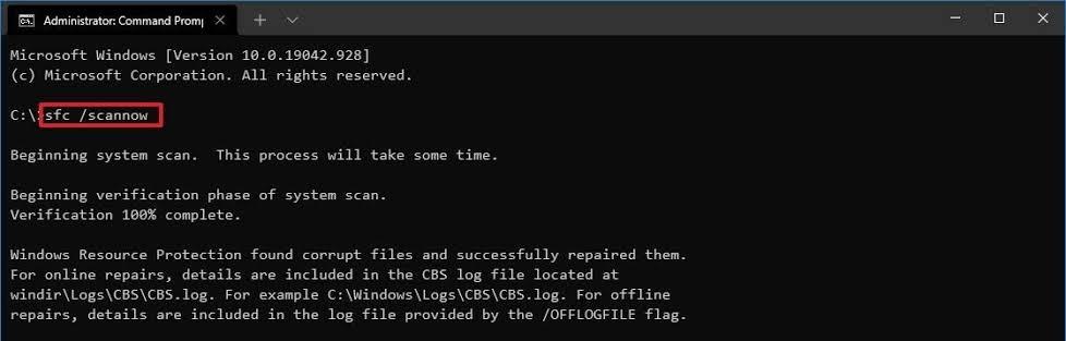 Командная строка windows 10 sfc / scannow